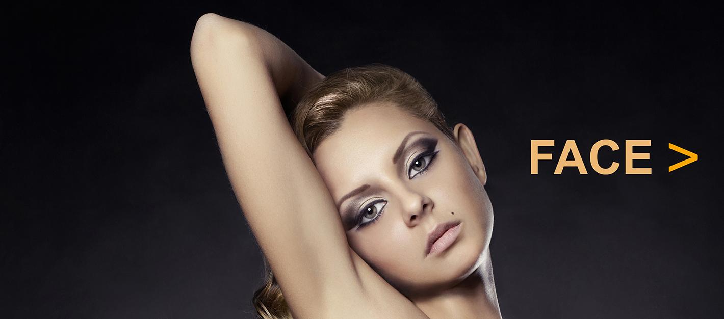 Fashion portrait of nude elegant lady on black background
